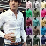 Korean High Quality Slim Fit Long-sleeved Solid Color Men's Business Shirt