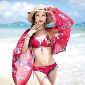 Three-Piece Veil Bikini Swimsuit