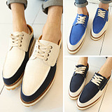 England Casual Canvas Thick Sole Pointed Shoes
