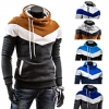 Men's Casual Mixed Colors Slim Fit Thick Fleece Hooded Sweater Jacket
