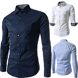 Men's Fashion Obscure Plaid Long-sleeved Shirt