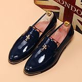 Fashion Men's Bright Skin Patent Genuine Cow Leather Pointed Shoes