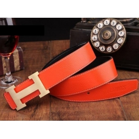 Men H Buckle Genuine Cow Leather Belt