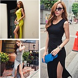 WCC7037 Sexy Slim Fit Cotton Slit Skirt Vest Dress