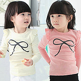 Korean Children's Long-Sleeved Bow T Shirt