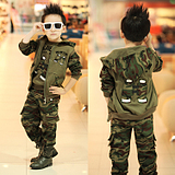 Sports Casual Camouflage Jacket Shirt Pant 3pcs Set