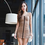 WCC6621 Korean Fashion Wrinkle Stitching Slim Fit Women Dress