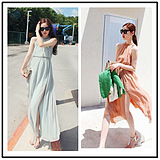 WCC6793 Korean Sexy Oblique Fairy Chiffon Bohemian Beach Dress