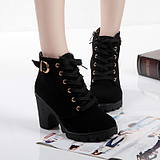Fashion Thick Heels Women Ankle Martin Boots Shoes