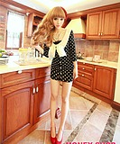 WCC6122 Slim Fit Ultra-thin Elastic Round Neck Bow Small Dress