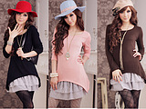 WCC6108 Korean Wild 2 Piece Lace Hem Long T