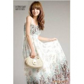 WCC9186 Floral Chiffon Bohemian Long Dress