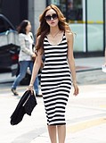 WCC6907 Korean Suspenders Striped Slim Fit Sexy Dress