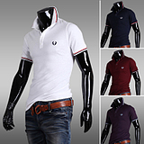 Korean Men's Slim Fit Fashion casual Short-sleeved Lapel Polo Shirt