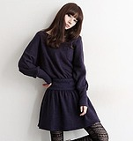 WCC6294 Korean Women's Round Neck Long-sleeved Wool Knit Bat Slim Waist Dress