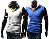 Street Style Fashion Hit Color Embroidery Slim Fit Short-sleeved Polo Shirt