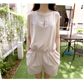 WCC7136 Korean Loose Chiffon Shorts Pants Jumpsuit