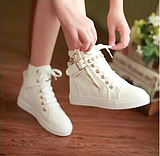 Korean Women High-top Canvas Zipper Boots  Shoes