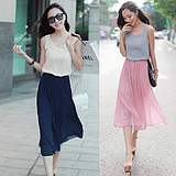 WCC7134 Korean Women Temperament Sweet Princess Chiffon Beach Dress