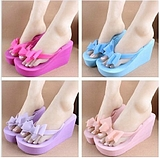 Fashion Lady Bow High-heeled Women Beach Slippers Sandals