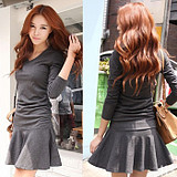 WCC7022 Korean  Fashion Elegant Temperament Sexy Trendy Women Slim Fit Dress