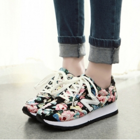 Korean N Letter Casual Women Floral Sneakers Sport Shoes