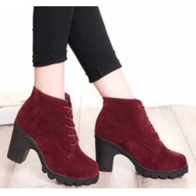 British Style Thick-bottomed Waterproof High  Heels Martin Boots shoes
