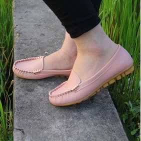 Women Casual PU Leather Peas Flat Shoes