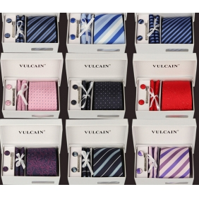 8CM Men's Casual Polyester Jacquard Tie Gift Box Pack