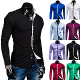 Men's Double Collar Square Buckle Crash of Color Casual Slim Fit Long-sleeved Shirt