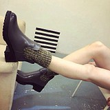 Europe Retro Female Wool Stitching Boots