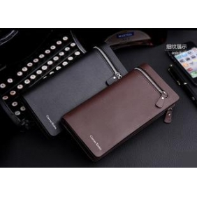 European Fashion Business Men Long Zip Leather Wallet
