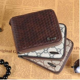 Men's Leather Wicker Vine Pattern Zipper Wallet