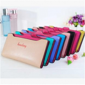 Fashion Candy Color Multifunction Leather Long Wallet