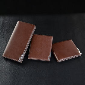 Men's Business Slim Iron Edge Leather Wallet