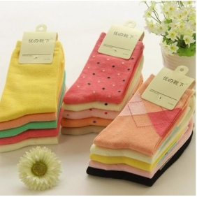 Korean Female Lovely Dot Cotton Socks