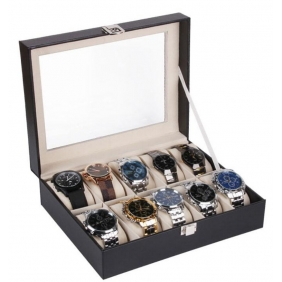 10 Slots PU Leather Jewelry Watches Storage Box Case