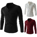 Korean Men's Slim Fit Clamshell Pockets Long Sleeve T-Shirt