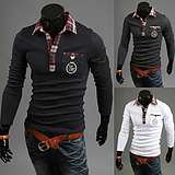 Men's Long-Sleeved Plaid Mixed Colors Slim POLO T-Shirt