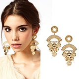 European Fashion Exaggerated Ethnic Style Gold Disc Earrings