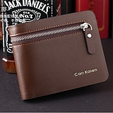 European Fashion Business Men Short Paragraph Zipper Wallet