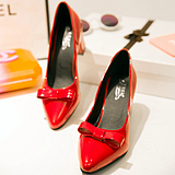 Korean High-Heeled Bow Pointed Shoes