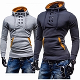 Men's Double-Breasted Hedging Short Paragraph Slim Fit Brushed Hooded Sweater Jacket