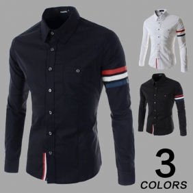 Korean Fashion Men's Long-Sleeved Stitching Shirts