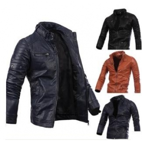 Men's Zipper Button Multi-Collar Motorcycle PU Leather Jacket
