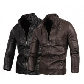 Men's Multi-Pocket Motorcycle Slim Fit PU Leather Jacket