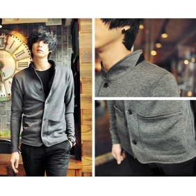 Korean Men Slim Fit Cotton Knit Suit Coat Jacket