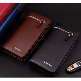 Men's Fashion Business Quality Leather Handbag Zip Wallet