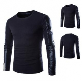 Korean Style PU Stitching Long Sleeved T-Shirt