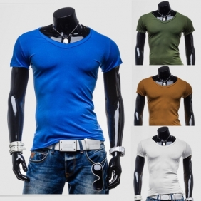 Classic Men's Short-Sleeved Slim Fit Bottoming V-Neck T-Shirt